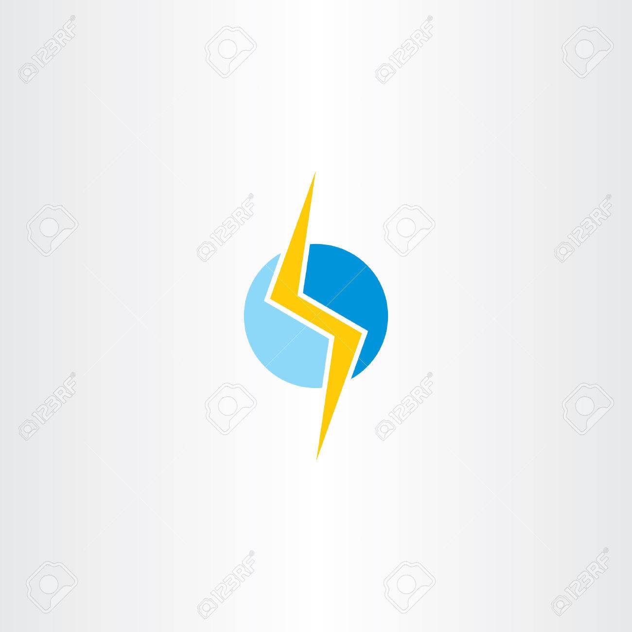 Lighting Bolt Vector Yellow Blue Logo Symbol Design Stock