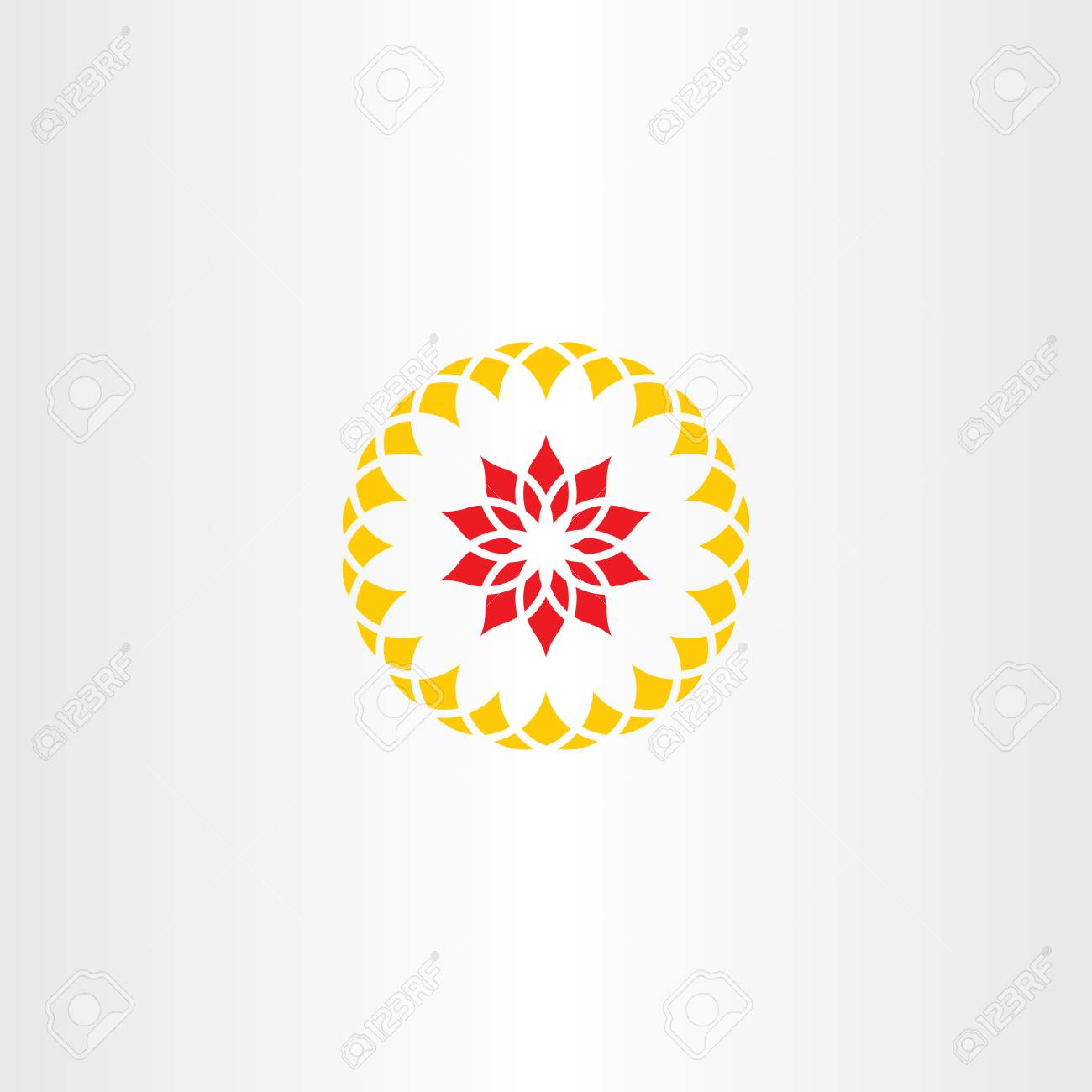 Abstract Red Yellow Flower Sign Symbol Logo Royalty Free Cliparts
