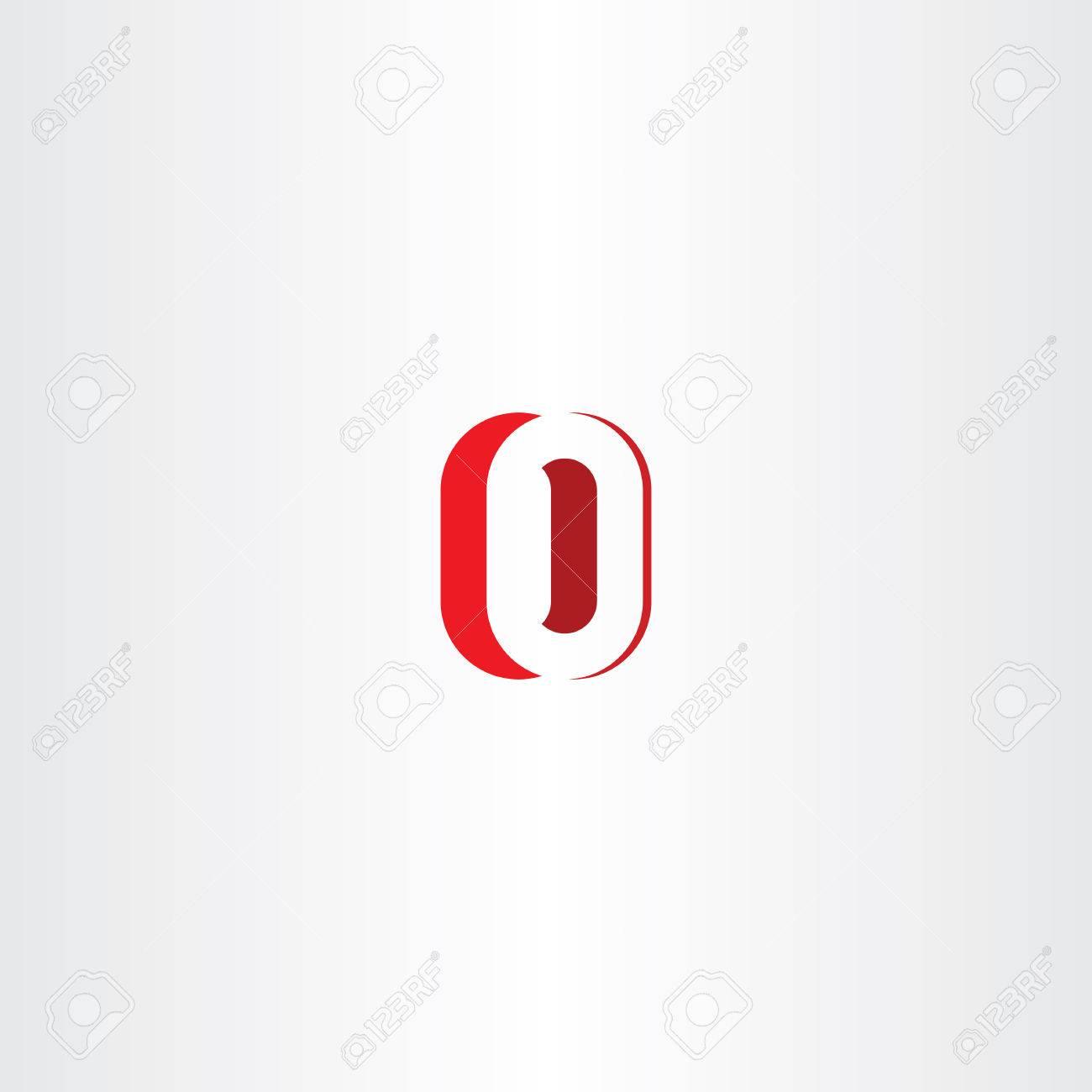 Red Letter O Number Zero 0 Logo Icon Vector Design Emblem Stock