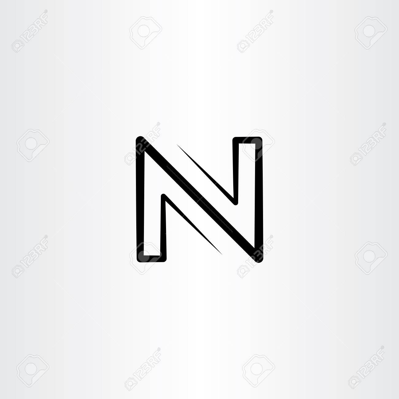 Black letter N logo vector sign icon - 90856507
