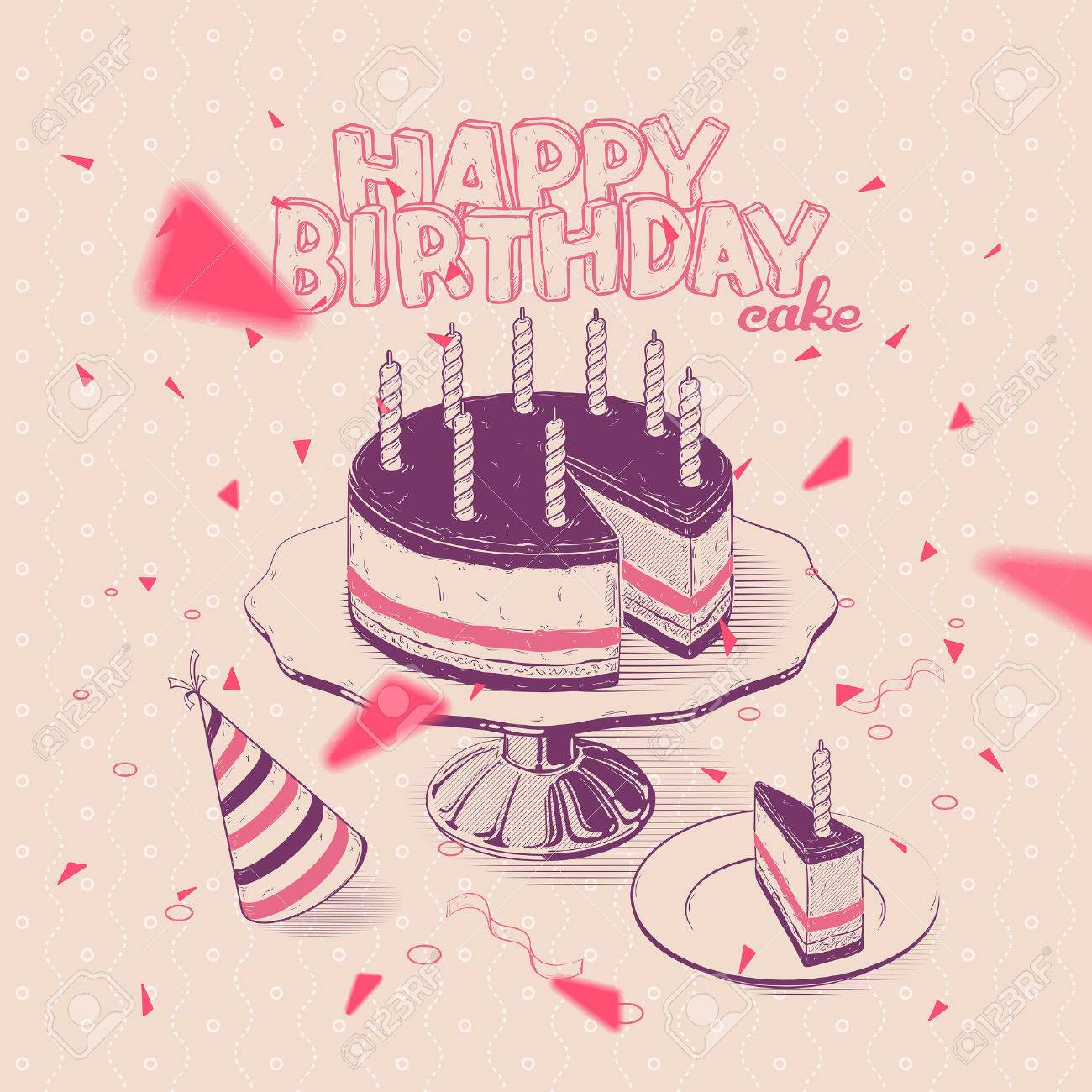 Vector Handdrawn Illustration Of Birthday Cake With Candles Royalty