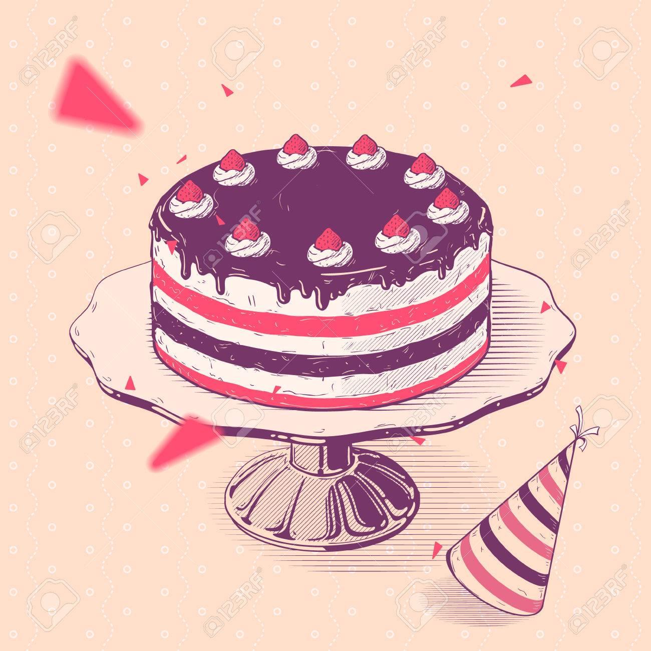 ベクトル手下ろしイラスト クリームとイチゴのバースデー ケーキの