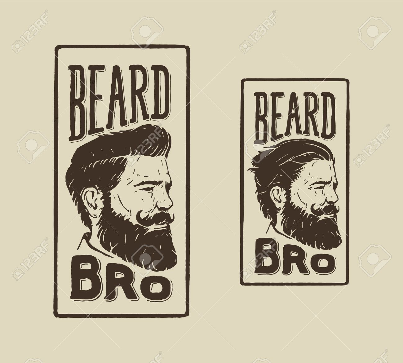 Vintage Hand Drawn Logo Of Barber Shop With Hair Style Beard