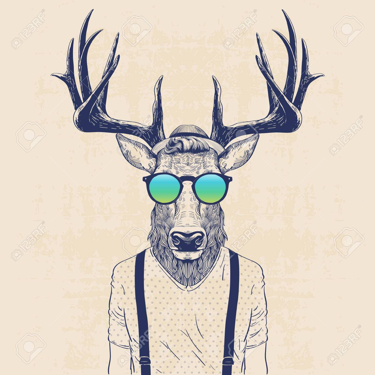 Illustration Of Deer Dressed Up Like Cool Hipster Royalty Free Cliparts Vectors And Stock Illustration Image 56716269