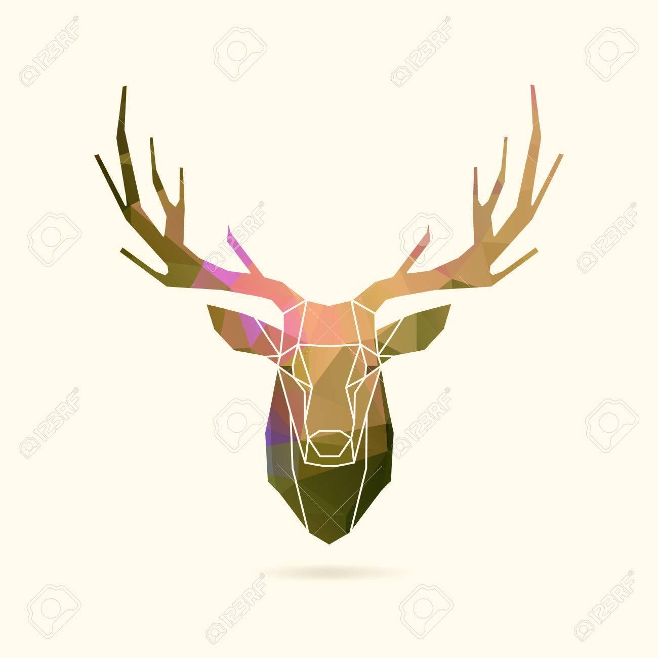 deer frame head, polygon portrait illustration