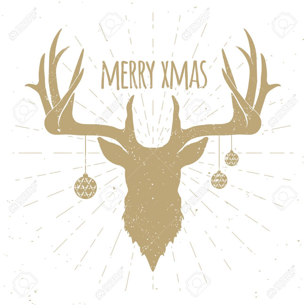 Hipster Vintage Christmas Deer, Gold Silhouette on White Background.