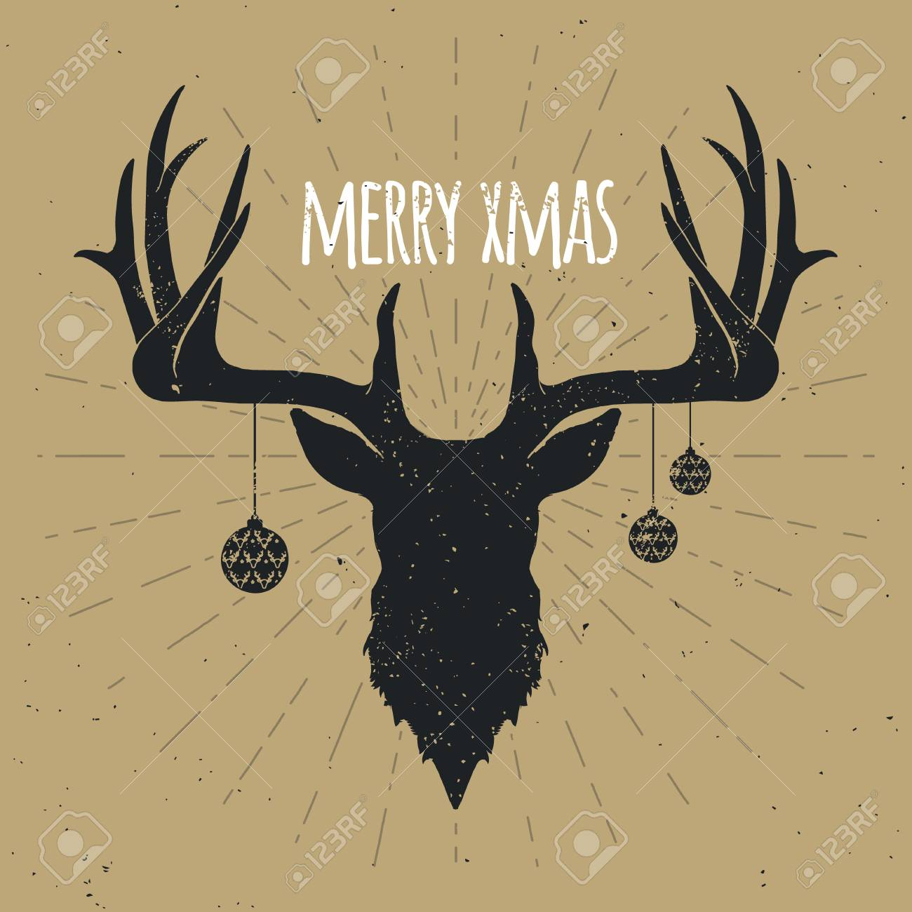 Retro Vintage Christmas Deer, Black Silhouette on Gold background.