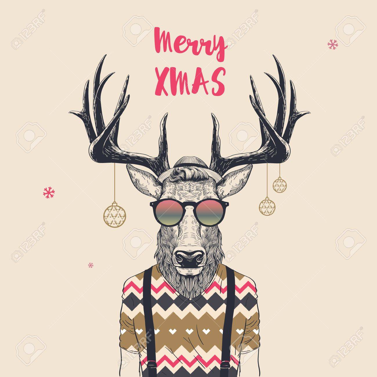 Christmas Card With Cool Hipster Deer, Merry Xmas, Vector ...