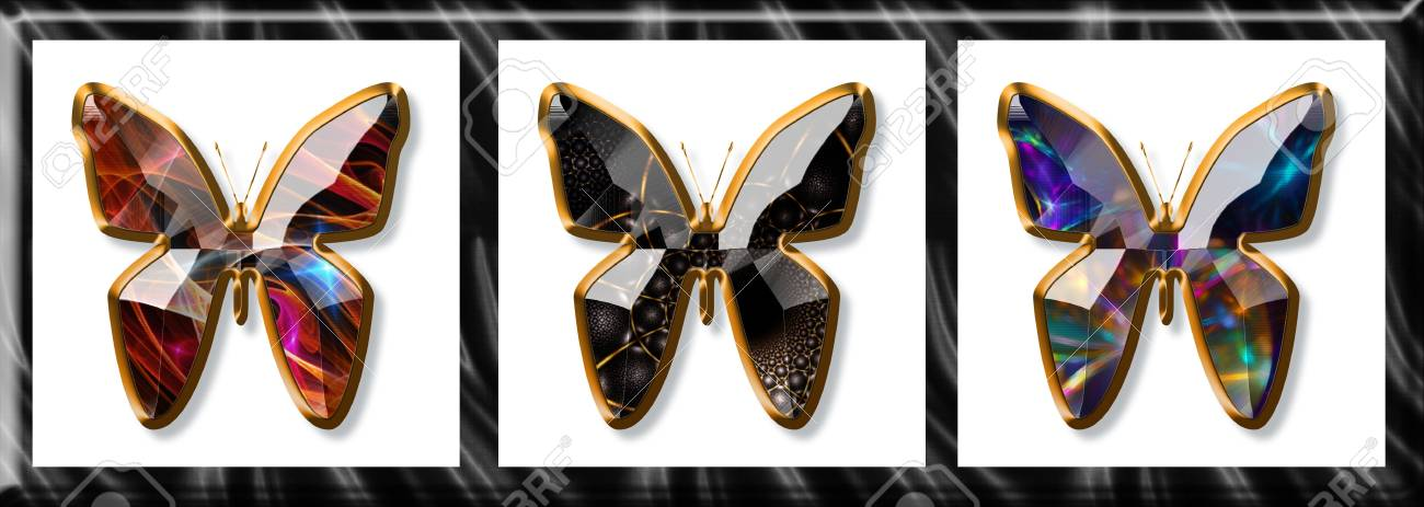 Illustration of butterflies imitating a jewel framed with gold Stock Illustration - 4722957