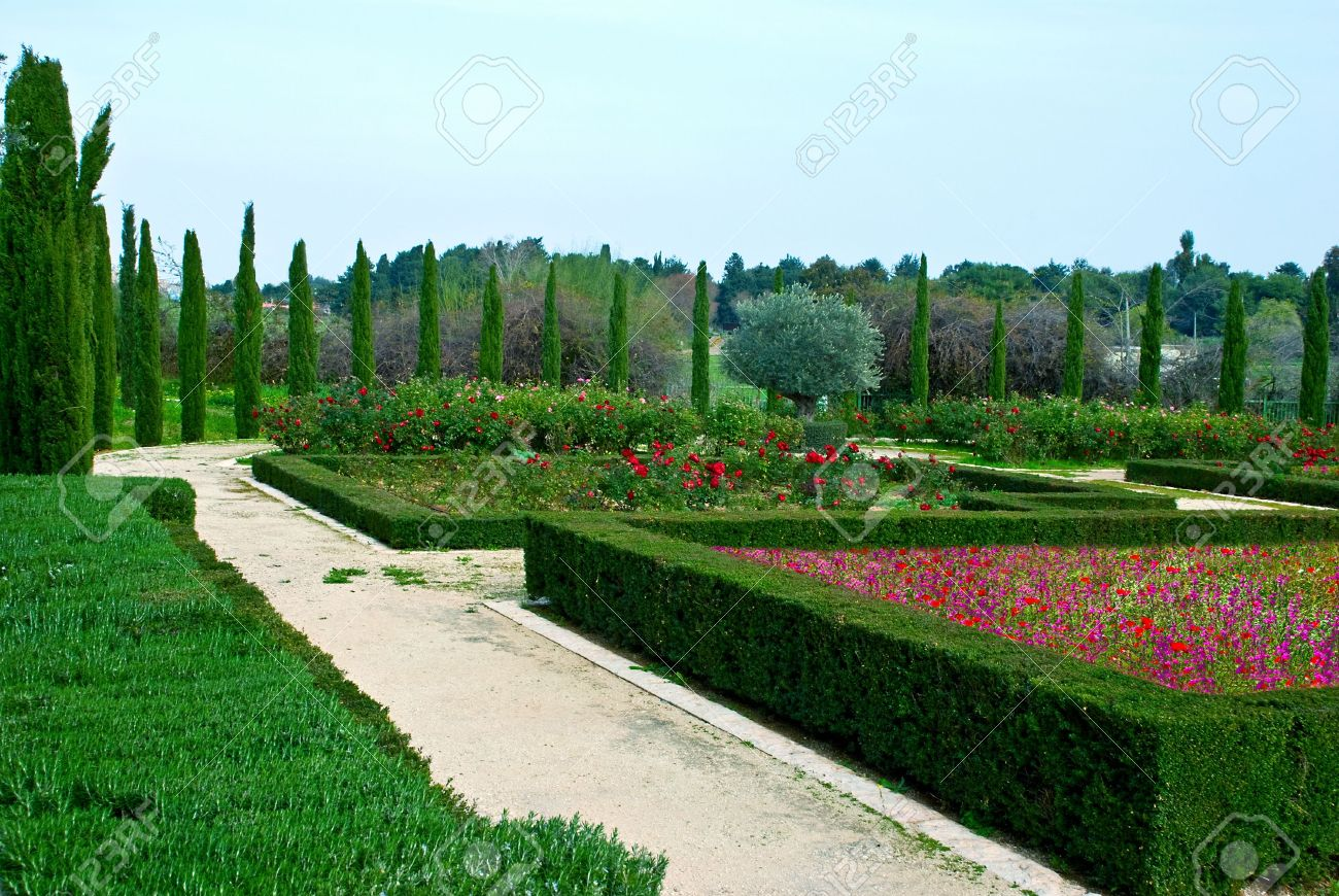 Geometric Designed Cut Bushes In A Botanic Garden Stock Photo