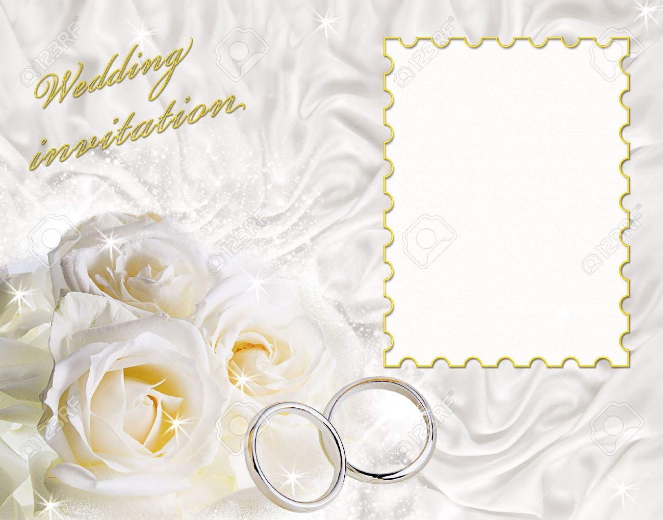 a card for a wedding invitation with a frame for sample text stock photo - Wedding Picture Frames