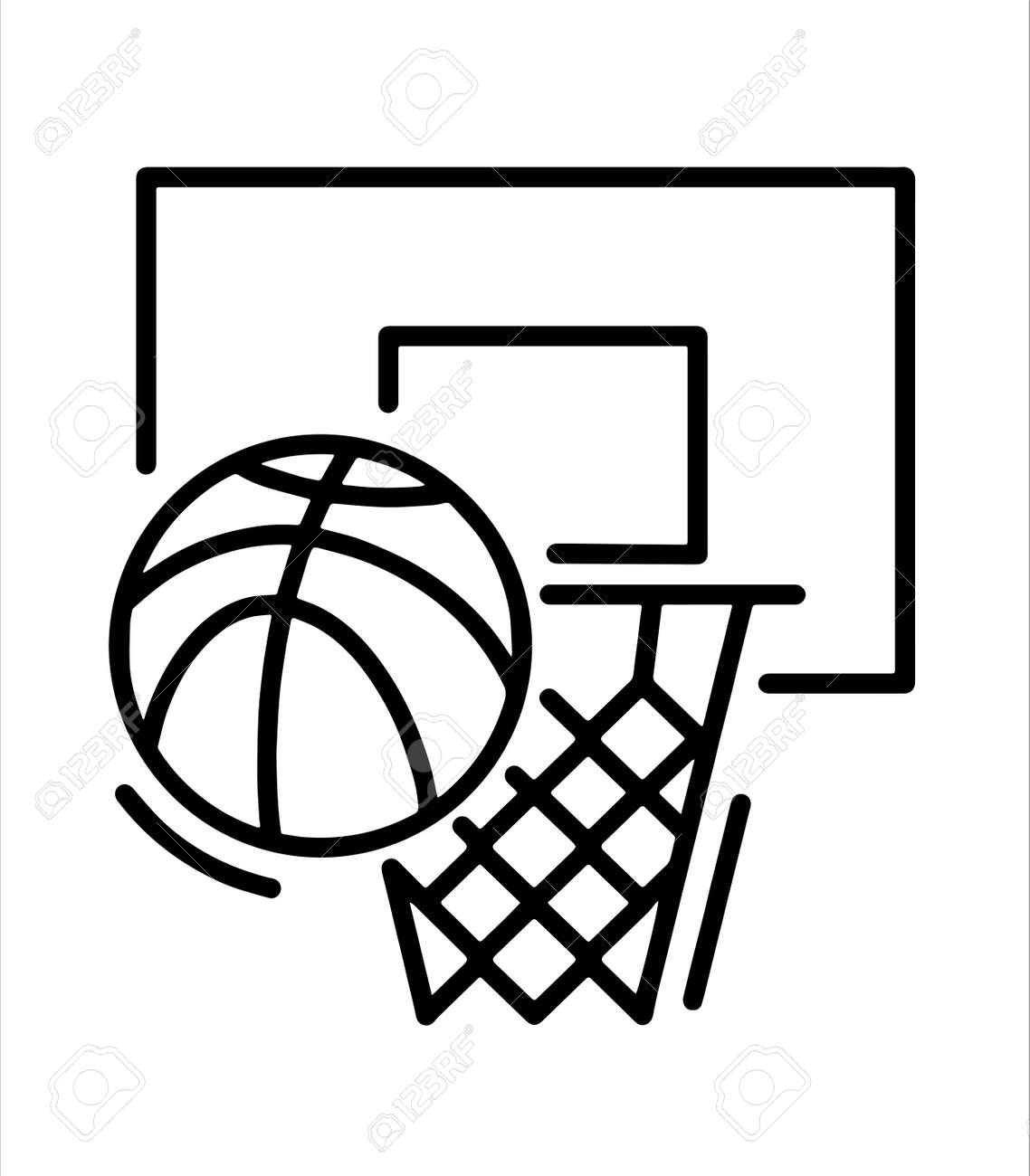 basketball hoop and basketball icon - 166548316