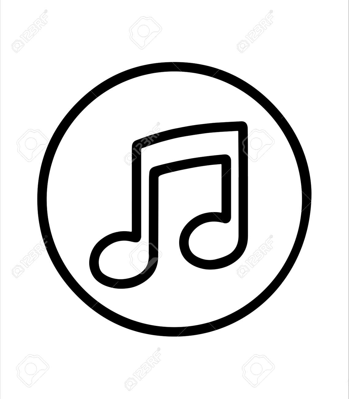 musical note and music icon - 166548358