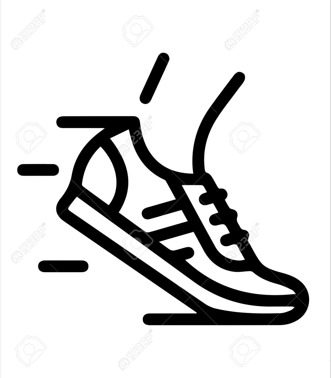 the running icon and shoes - 166507843