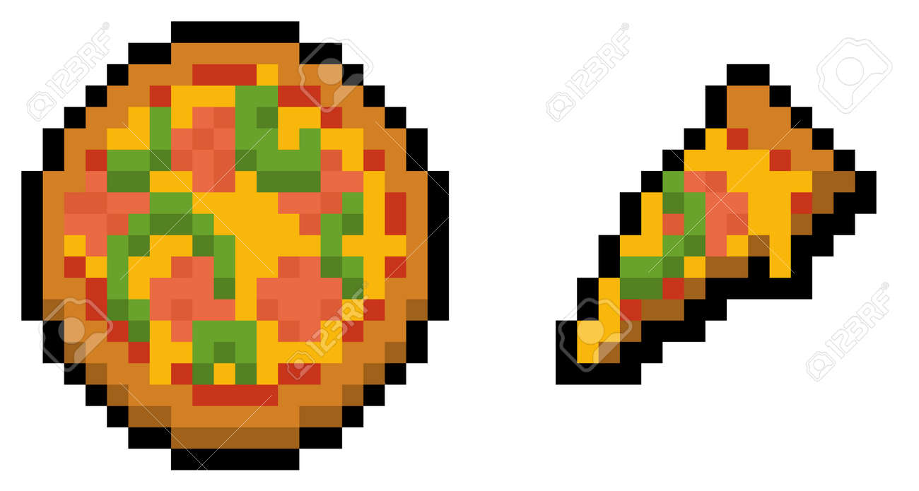 Pixel pizza and slice (vector, isolated) - 169344038