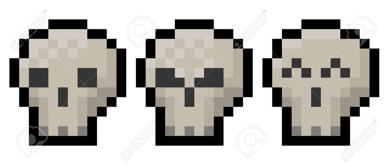 Pixel halloween or gaming skull pack - vector, isolated - 173178468