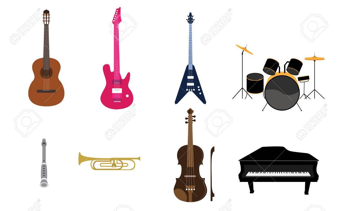 Set Of Music Instruments List Vectors Royalty Free Cliparts Vectors