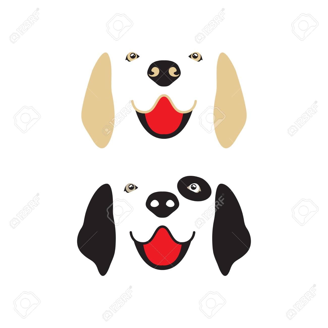 Dog Face Set Golden Retriever And Dalmatian Vector Royalty Free