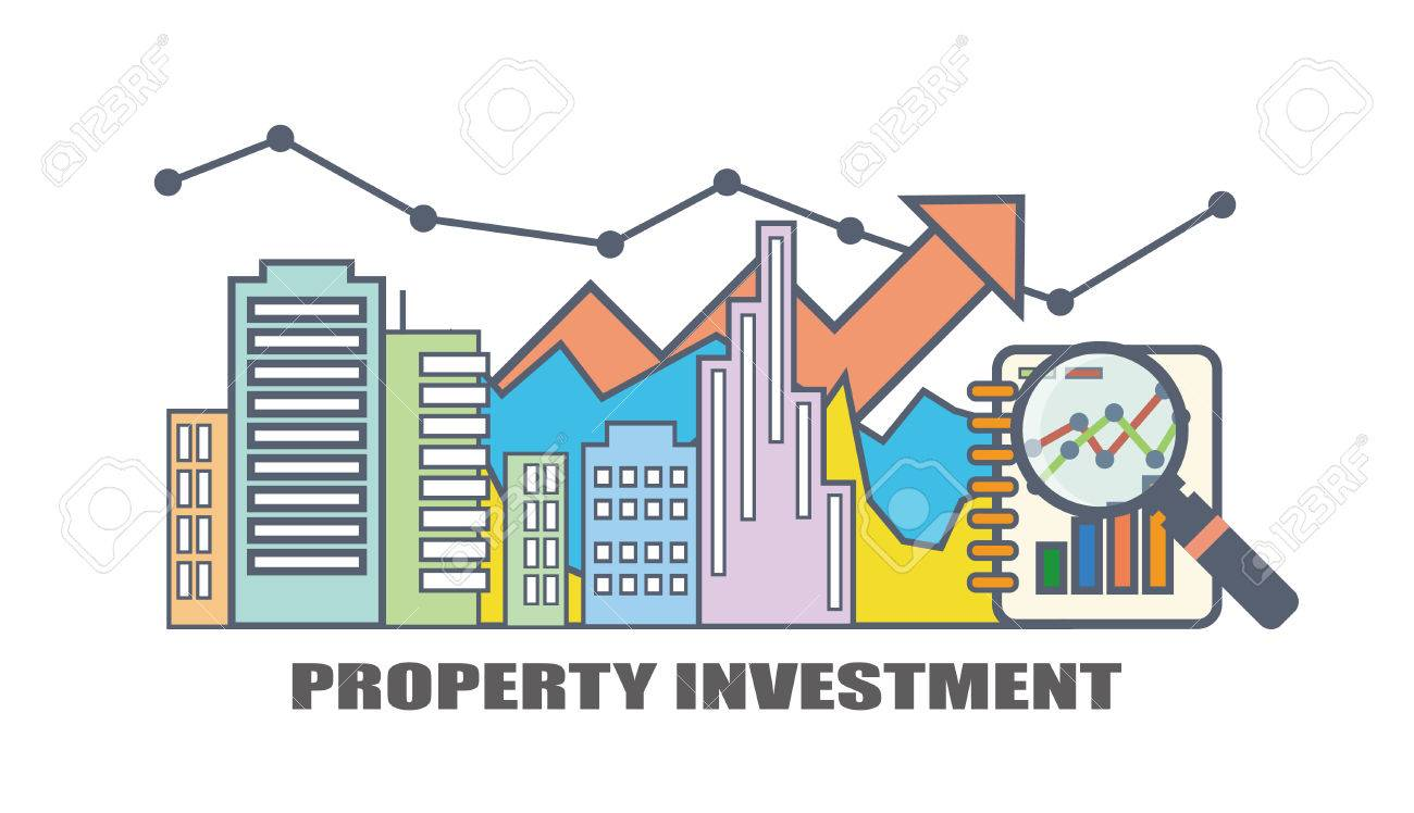 Flat Line Illustration Design For Property Investment, Real Estate Market  Analysis Stock Vector   65612550
