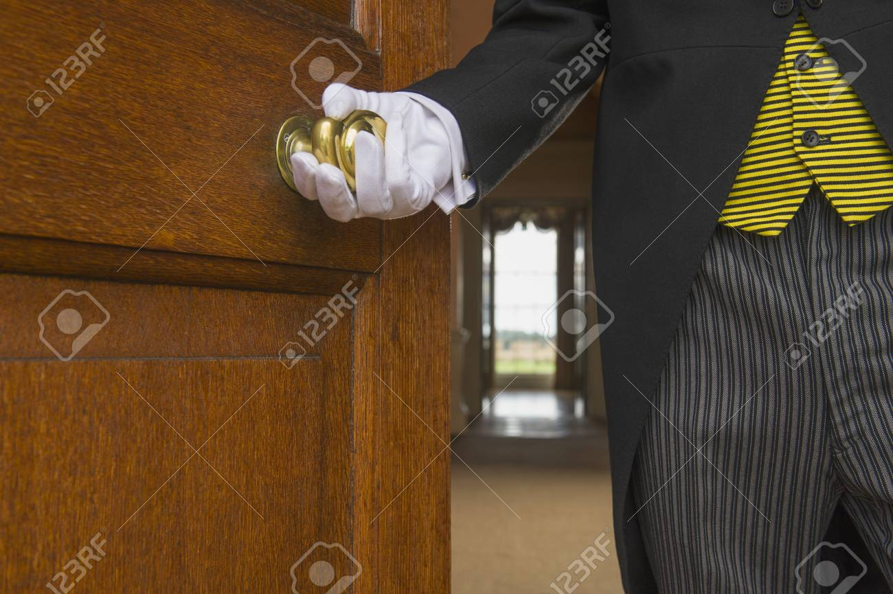Close up of Caucasian butler opening door Stock Photo - 93667265 & Close Up Of Caucasian Butler Opening Door Stock Photo Picture And ...