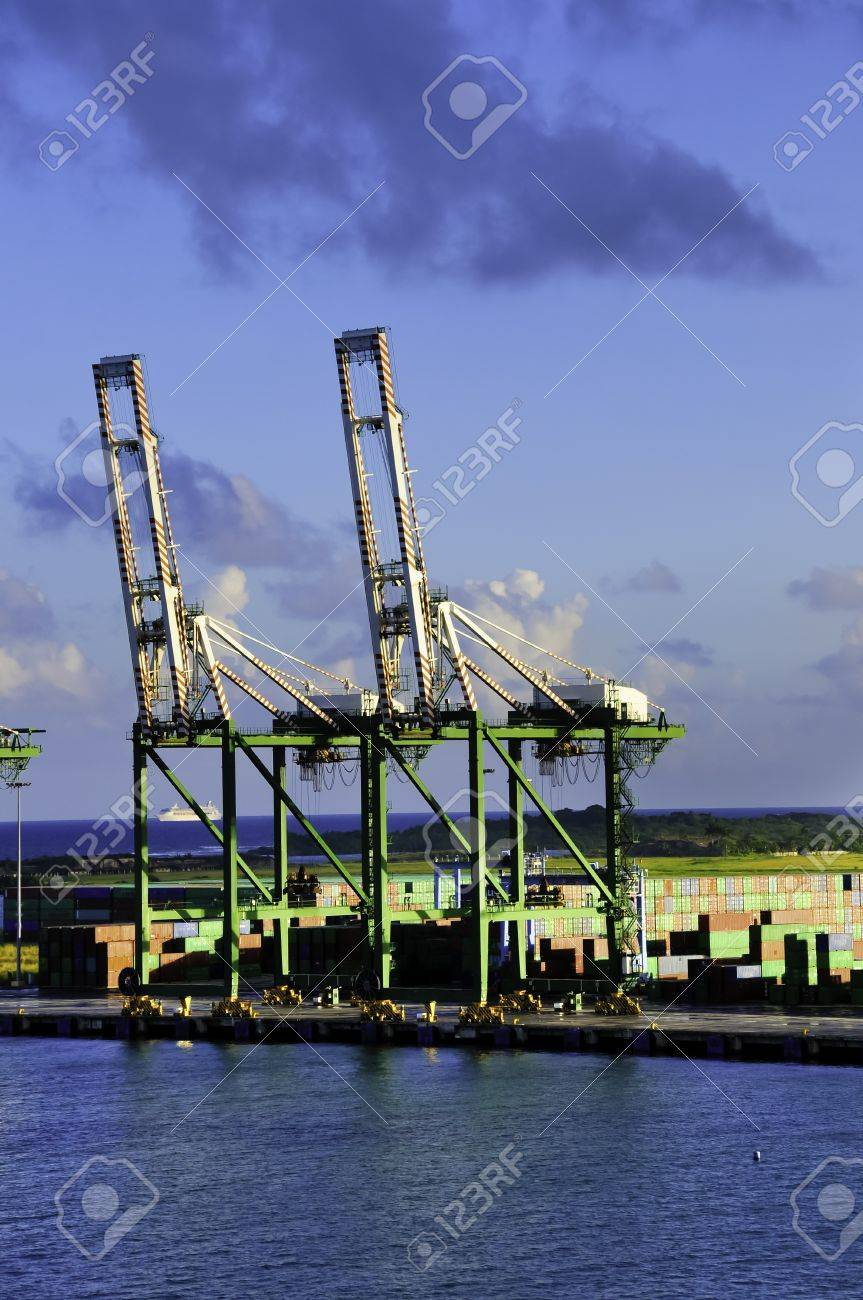 Shipping containers and cranes at the Port of Colon Panama Stock Photo - 10300838