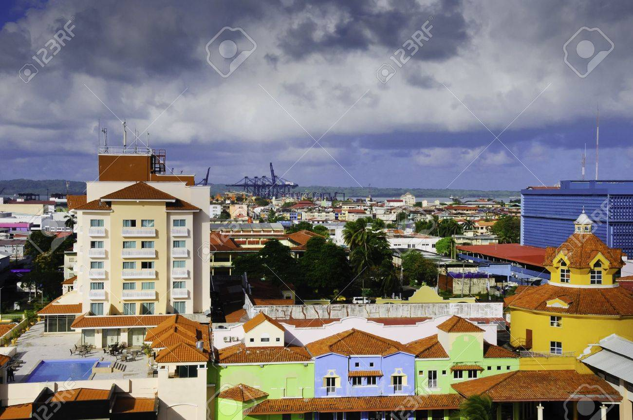 Brightly colored buildings in the town of Colon Panama Stock Photo - 10837405