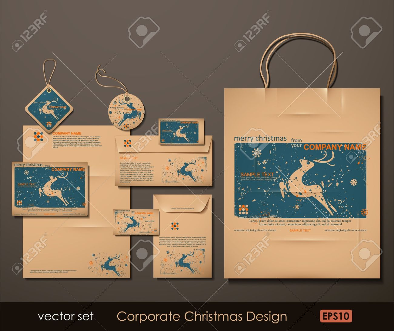 Corporate Christmas Design. Reindeer theme. Two colors different material for printing  the old fashioned way, but trendy. Print on blank brown paper. Vector Illustration. Stock Vector - 10631891