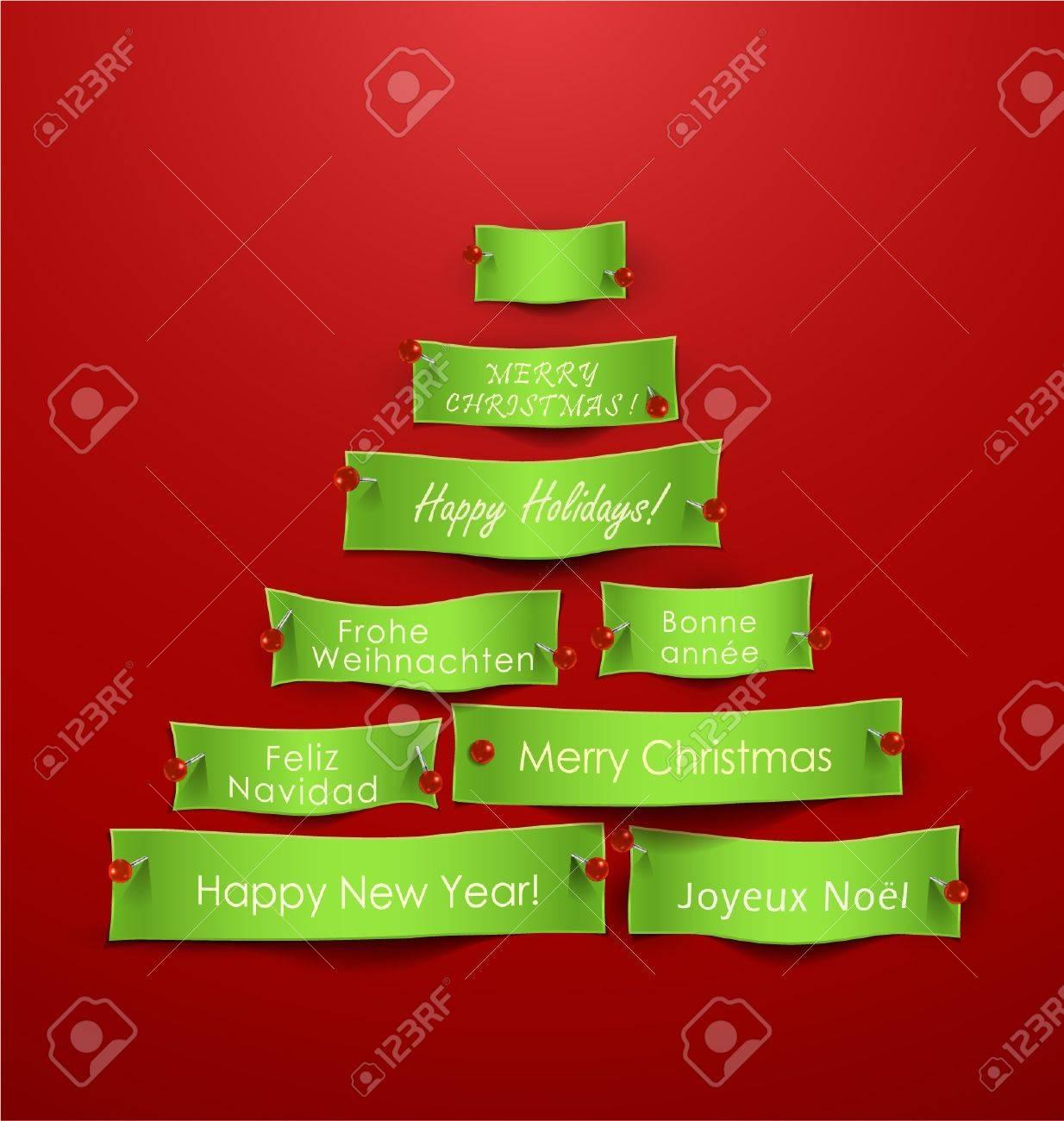 Recortes De Papel En Forma De árbol De Navidad Con Mensajes De Unas ...