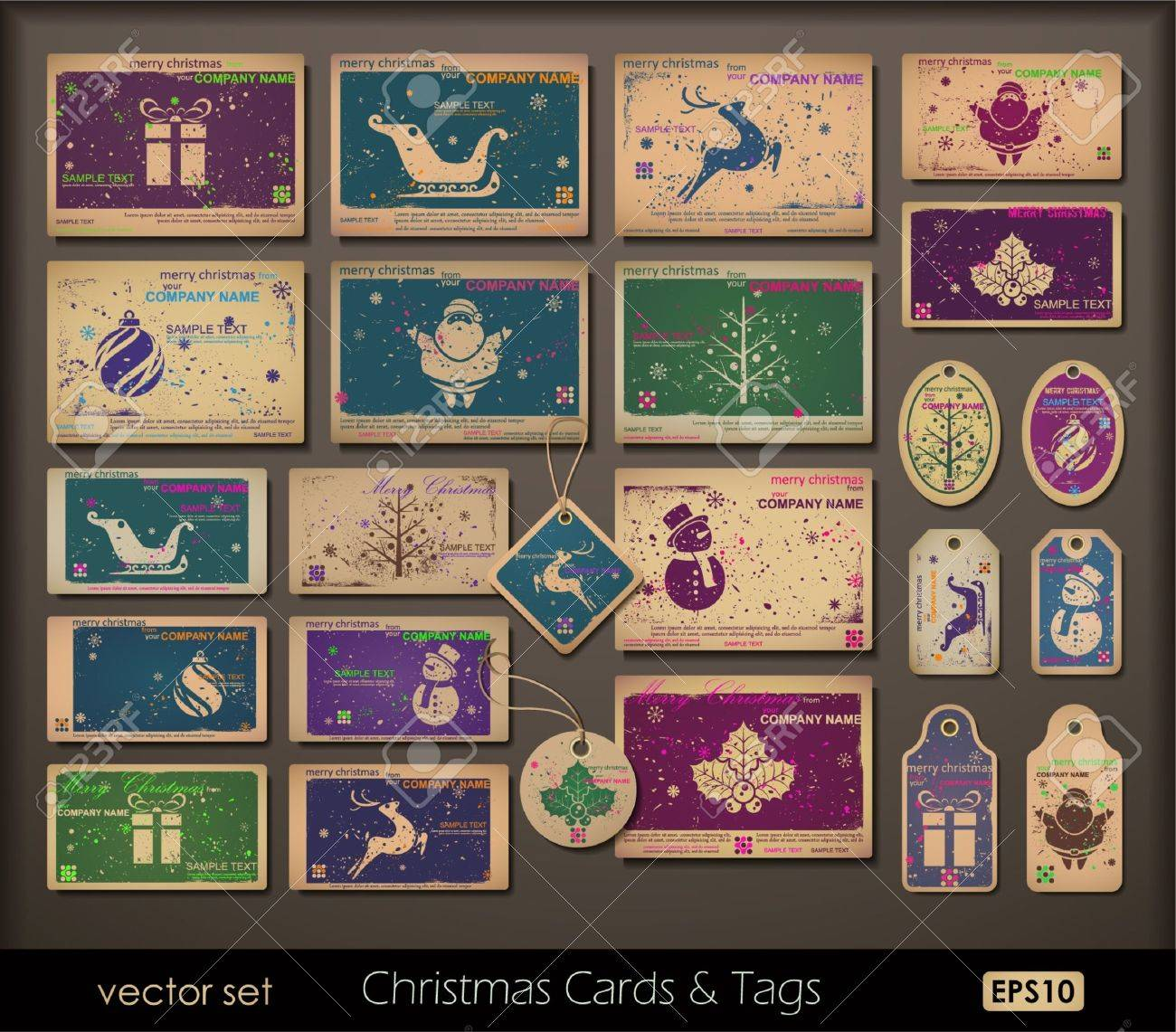 Vintage Collection Of Chipboard Christmas Cards. Two Colors Cards ...