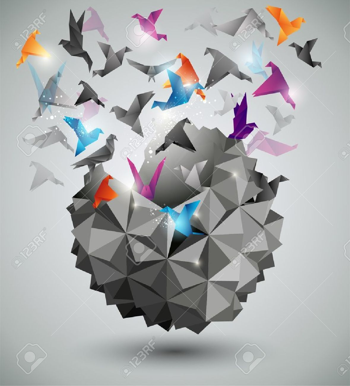 Paper Freedom, Origami abstract vector illustration. Stock Vector - 10933973