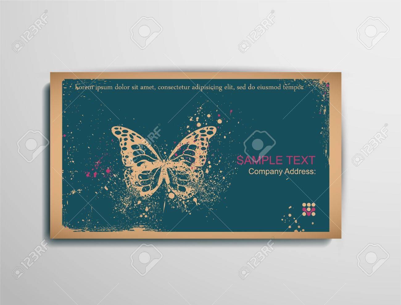 Business Calling Visiting Spanplatten Card Butterfly Zwei