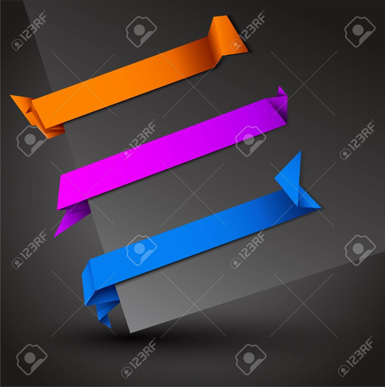 Trendy Colors Origami Tags with Shadows Stock Vector - 11422621
