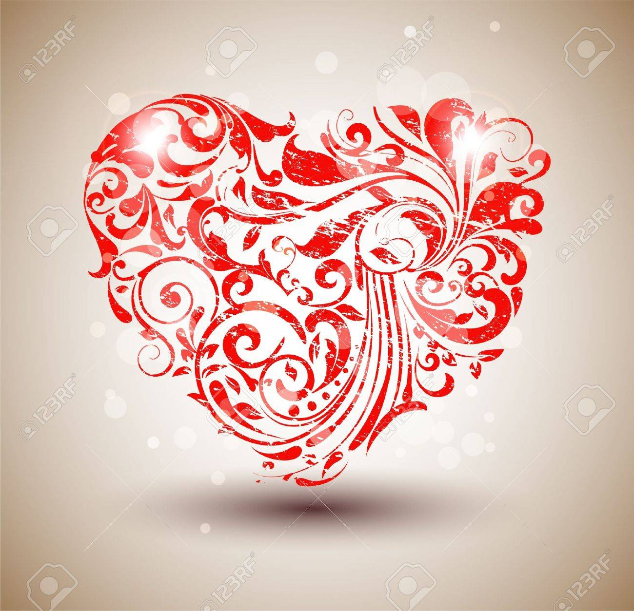 Red floral grunge heart Stock Vector - 11422589