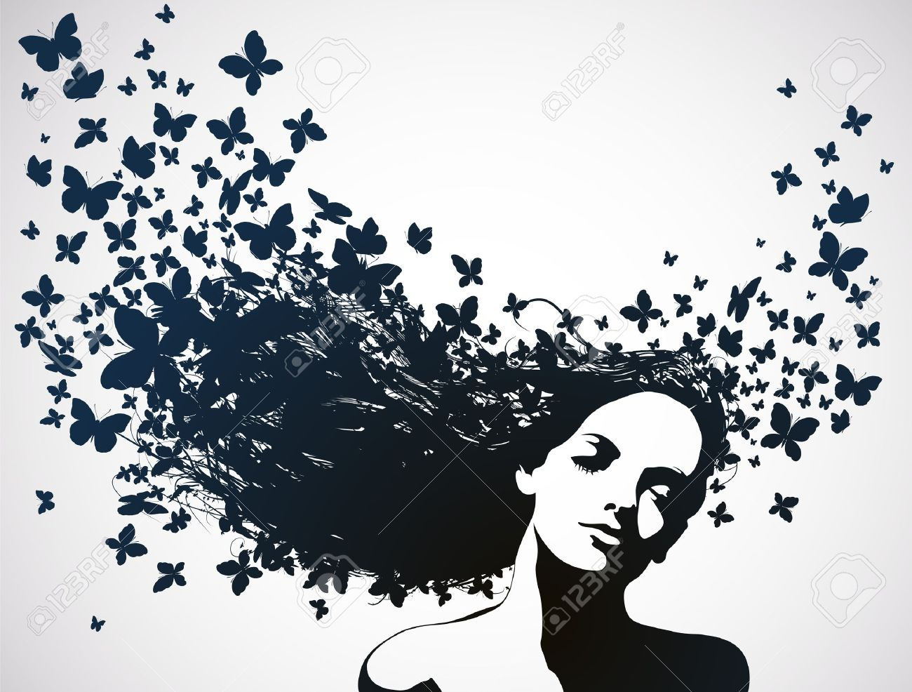 Woman with butterflies flying from hair Stock Vector - 12809906