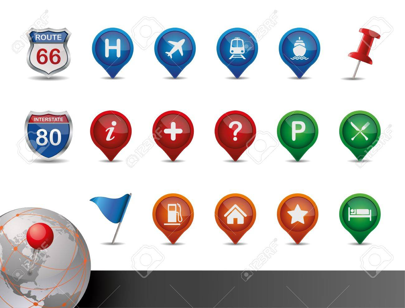 GPS and MAP Icon Set Stock Vector - 12810076