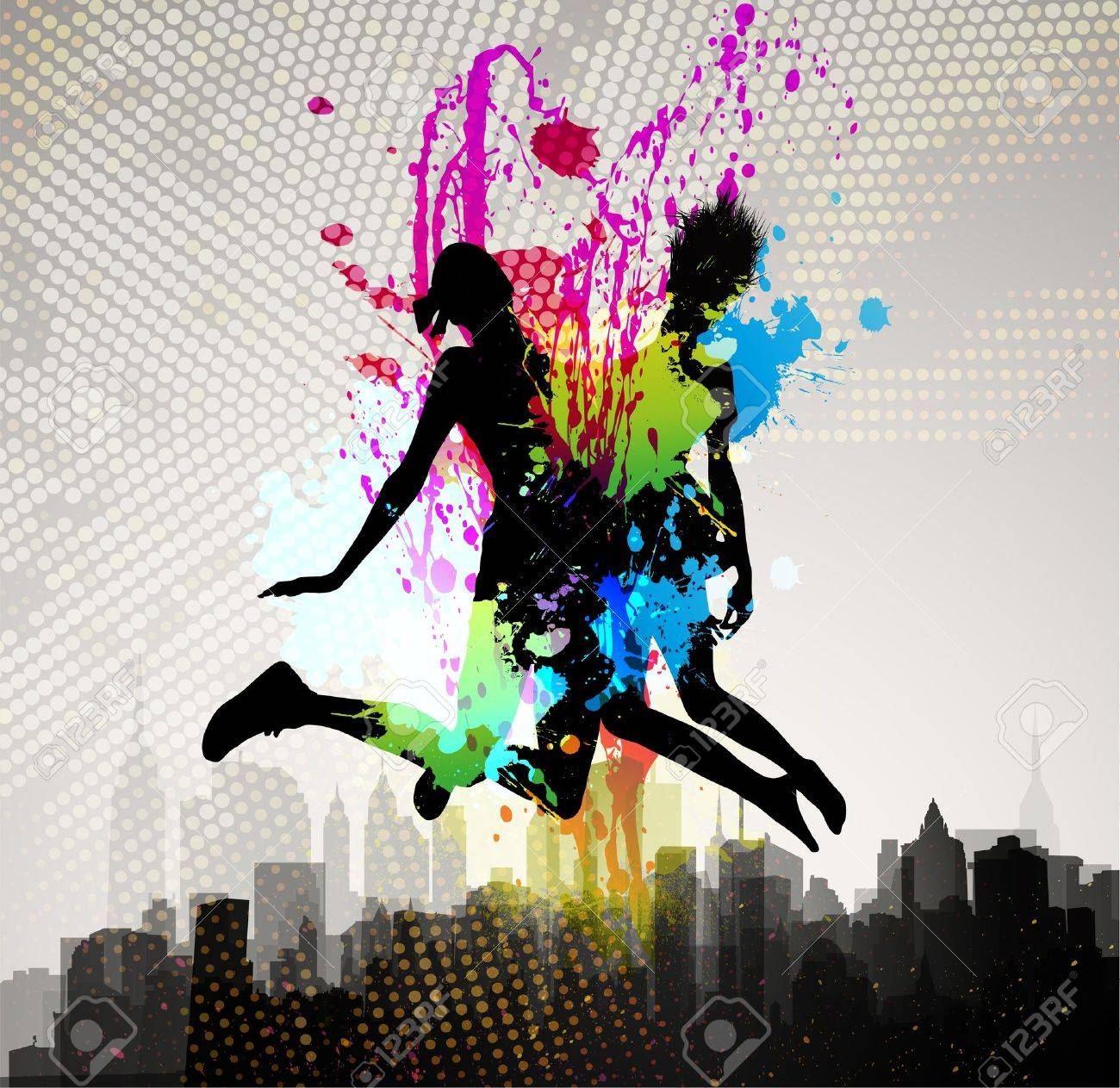 Two girls jumping over city Stock Vector - 12810059