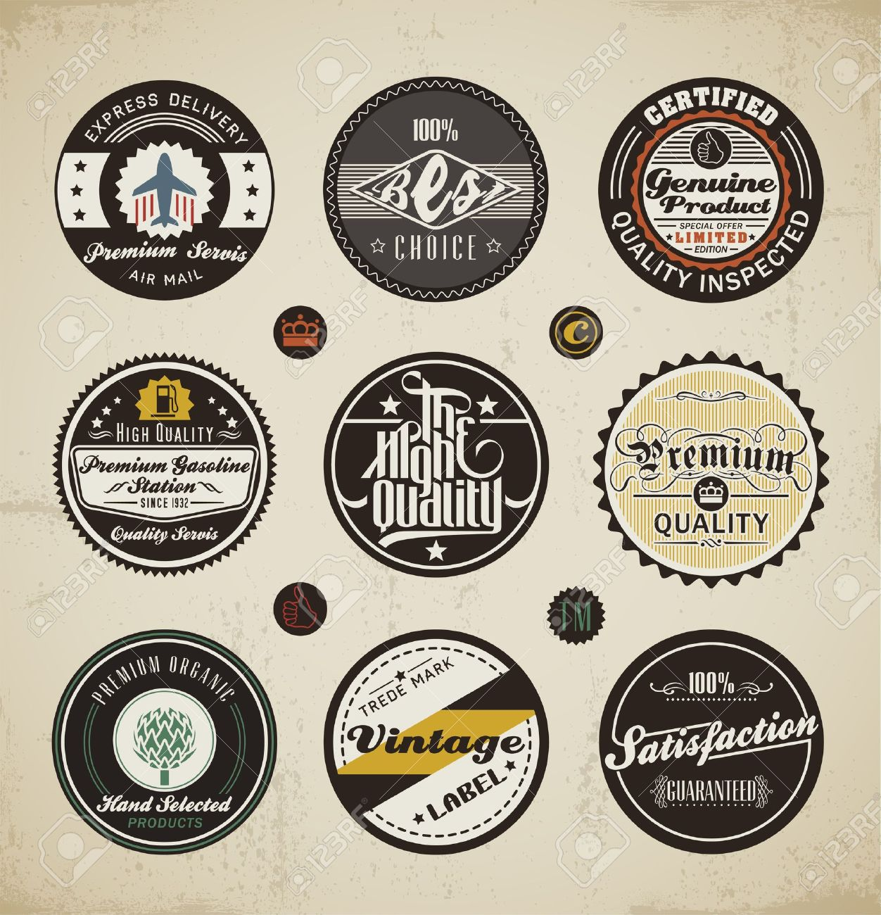Retro Badges and Labels set. Stock Vector - 13719715