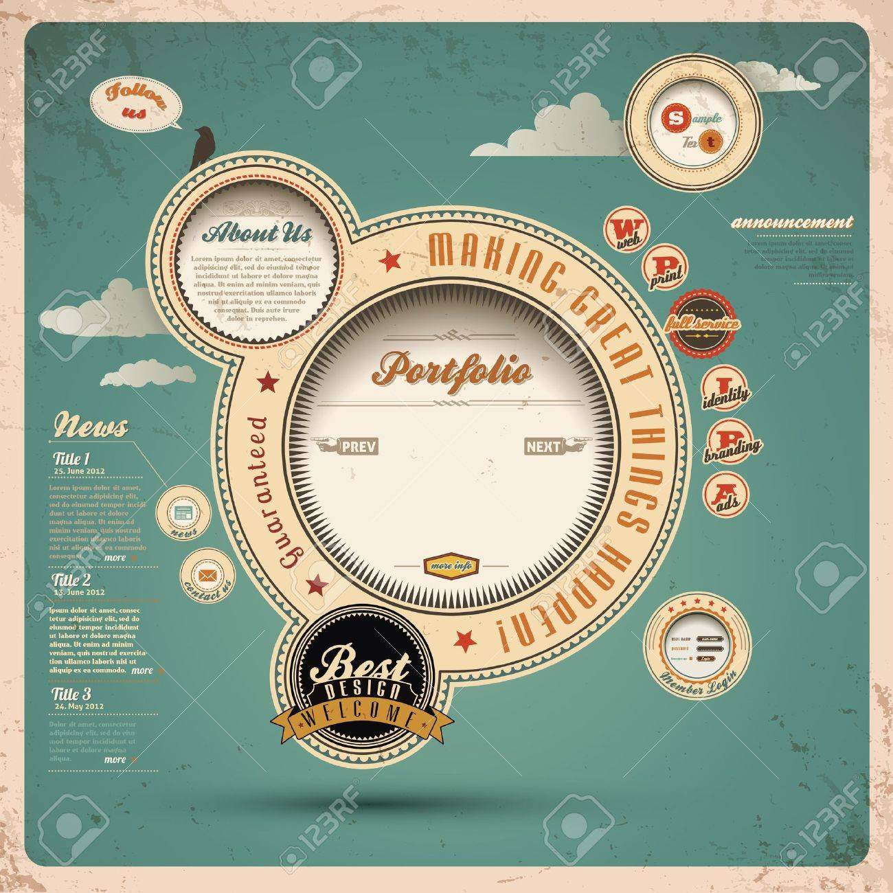 Vintage Web design Stock Vector - 14965955