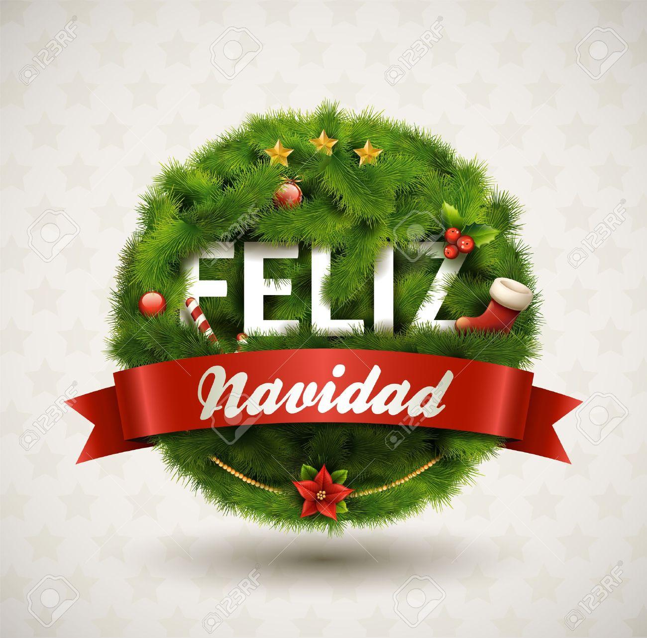 Feliz Navidad-Creative Christmas Label Stock Vector - 16243135