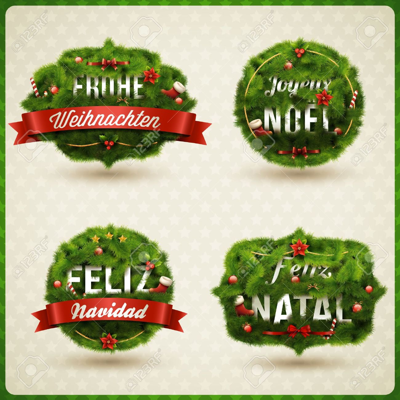 Merry Christmas  in different languages  German, Spanish, French, Portuguese   Creative Christmas label Stock Vector - 16530360