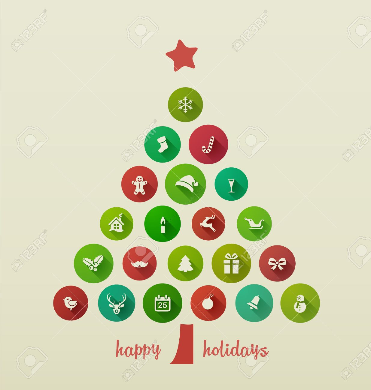 Holiday Card, Christmas Tree From Flat Icons Royalty Free Cliparts ...