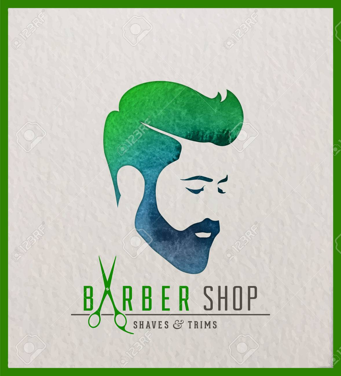 Creative Watercolor Logotype Of Man S Head Logo Design For Hair Royalty Free Cliparts Vectors And Stock Illustration Image 86671426