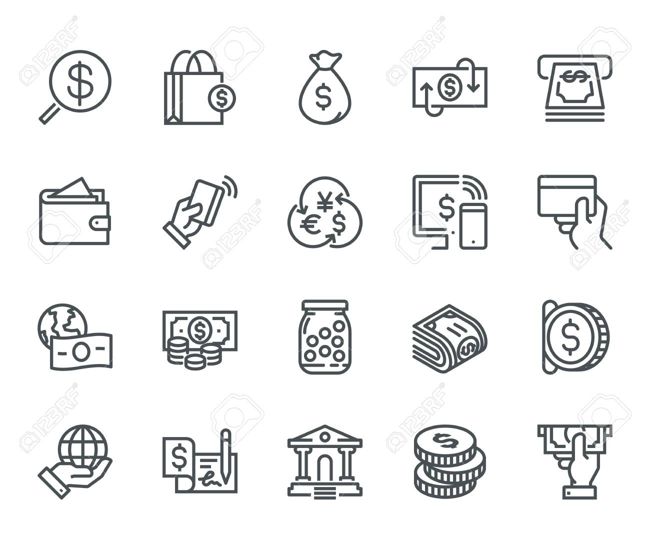 Money Icons, Monoline concept The icons were created on a 48x48 pixel aligned, perfect grid providing a clean and crisp appearance. Adjustable stroke weight. - 86671451