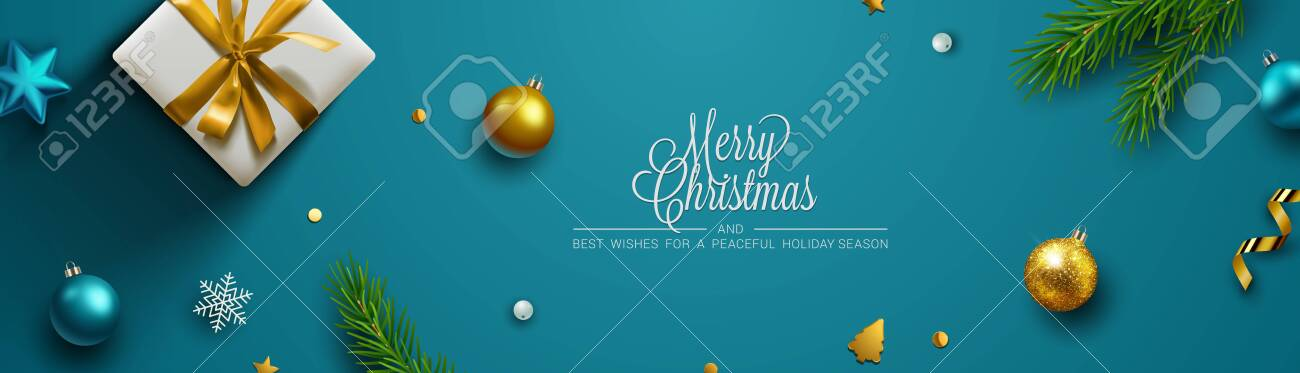 Blue Christmas background, banner, frame, header, background or greeting card design with christmas decor including baubles, gift boxes, fir tree cuttings, glitter and confetti. Vector Illustration. - 134085334