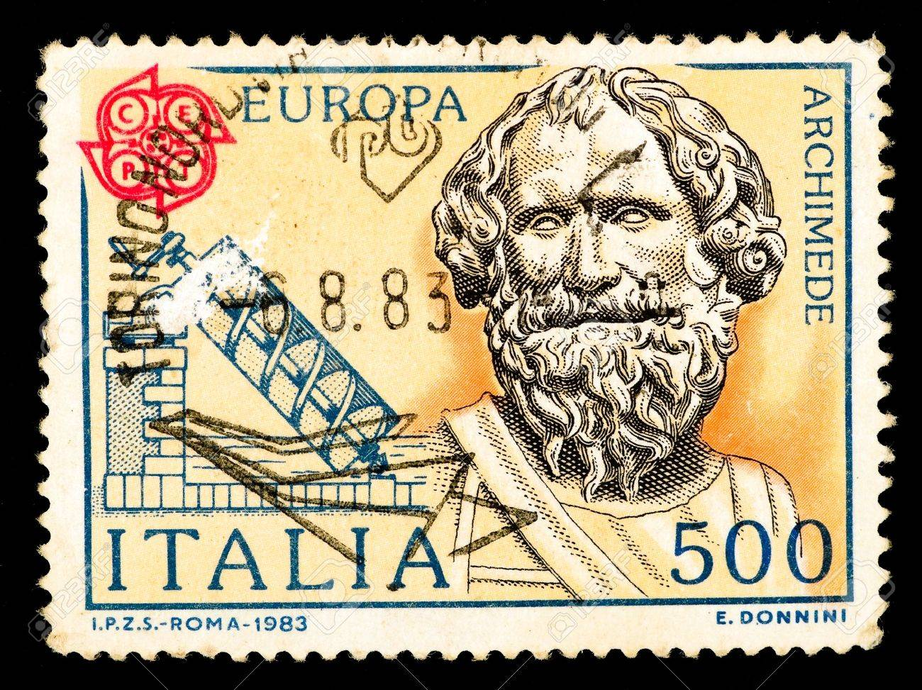 Postage stamp printed in Italia shows image of Archimedes, circa 1983 - 6173320