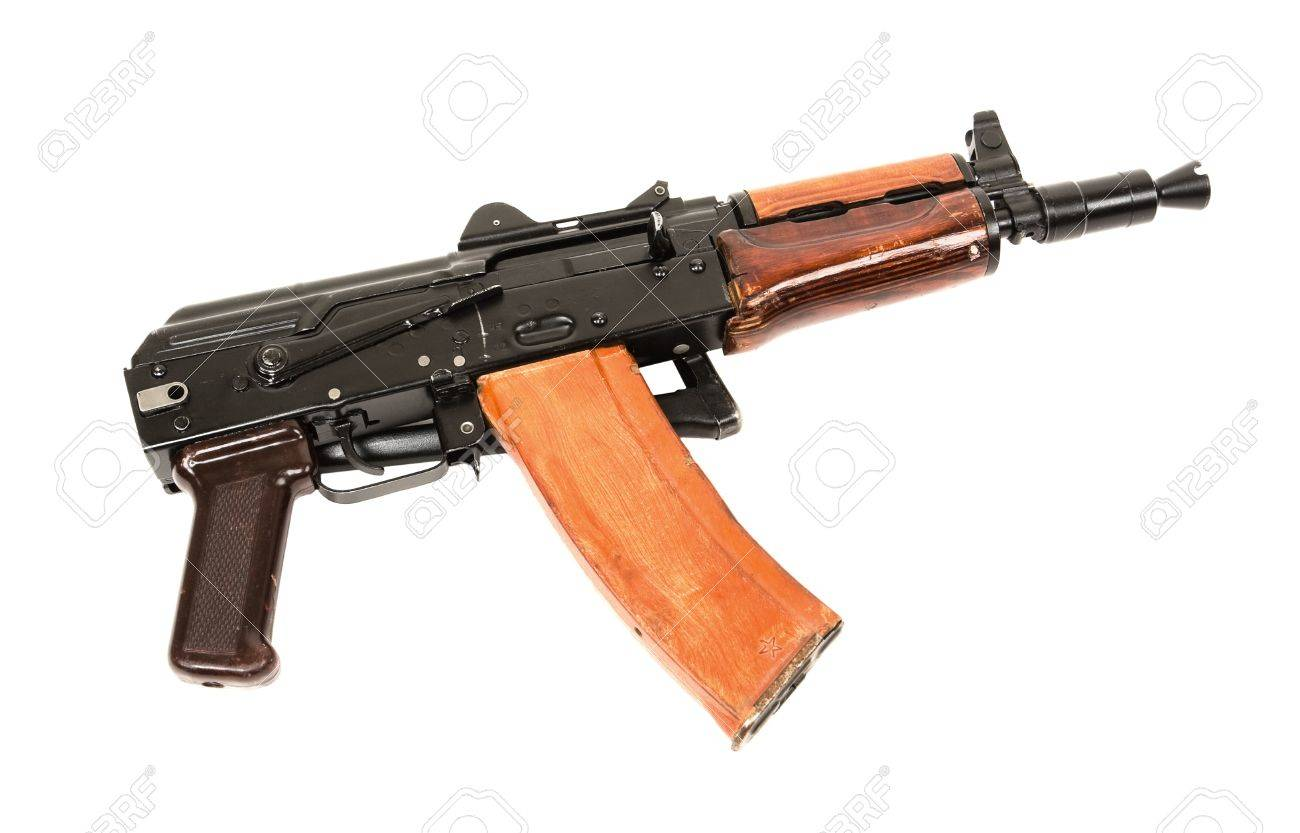 Russian automatic rifle AKS-74U isolated on the white background - 9320214