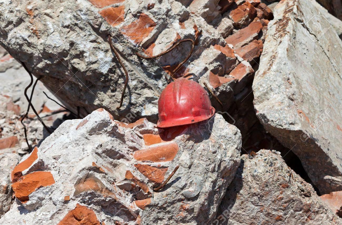 Old construction helmet over ruins - 13606327