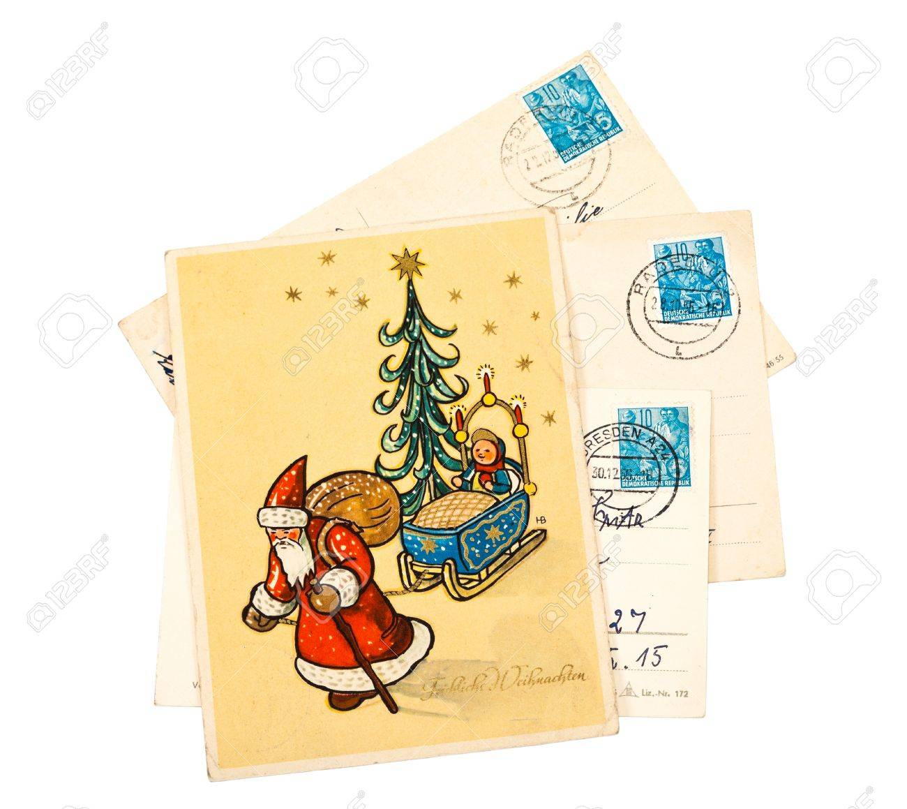 GDR - CIRCA 1956: Greeting Christmas Card Printed In The East ...