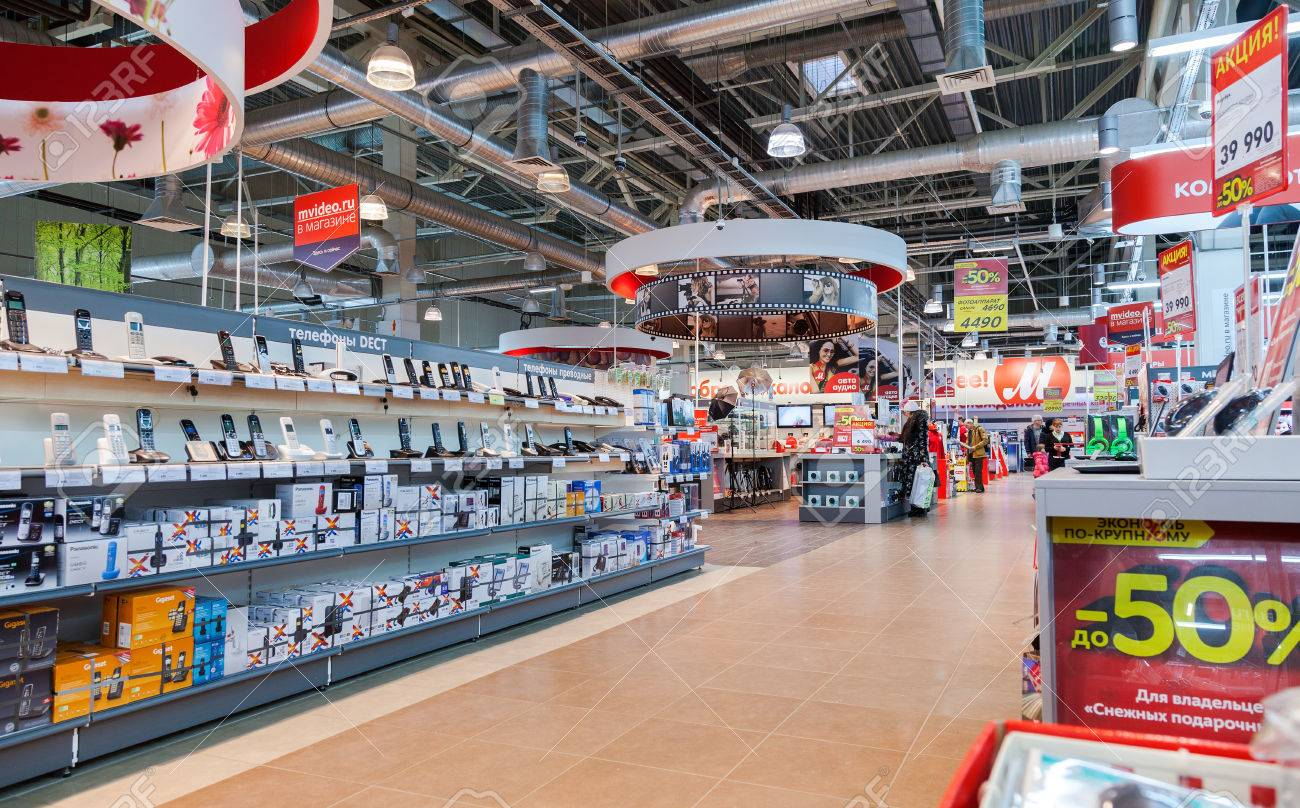 SAMARA, RUSSIA - JANUARY 24, 2015: Interior of the electronics shop M-Video. Is the largest Russian consumer electronic retail chain - 36137772