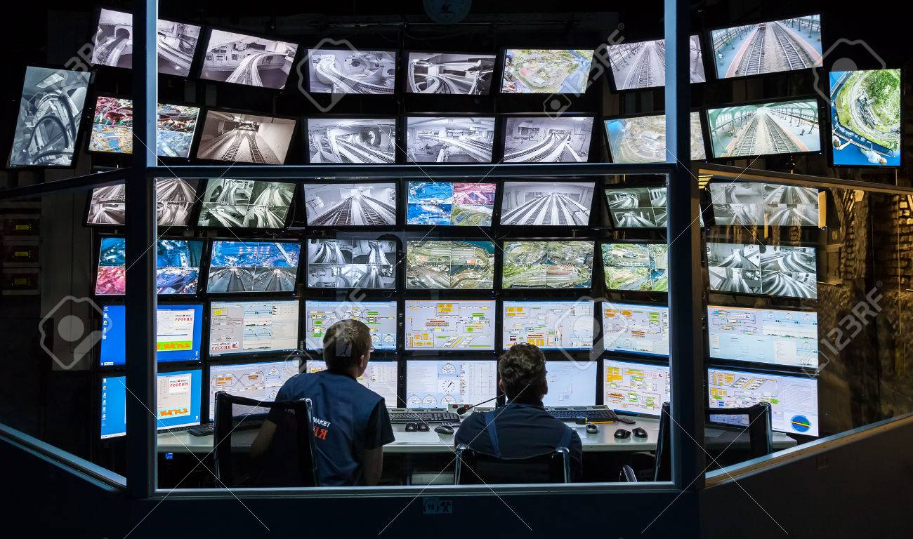 ST PETERSBURG, RUSSIA - AUGUST 8, 2014: Control room of the attraction Grand Russian layout. Is the largest layouts in Russia and the second largest in the world. Opened in 8 July, 2012 - 36547614